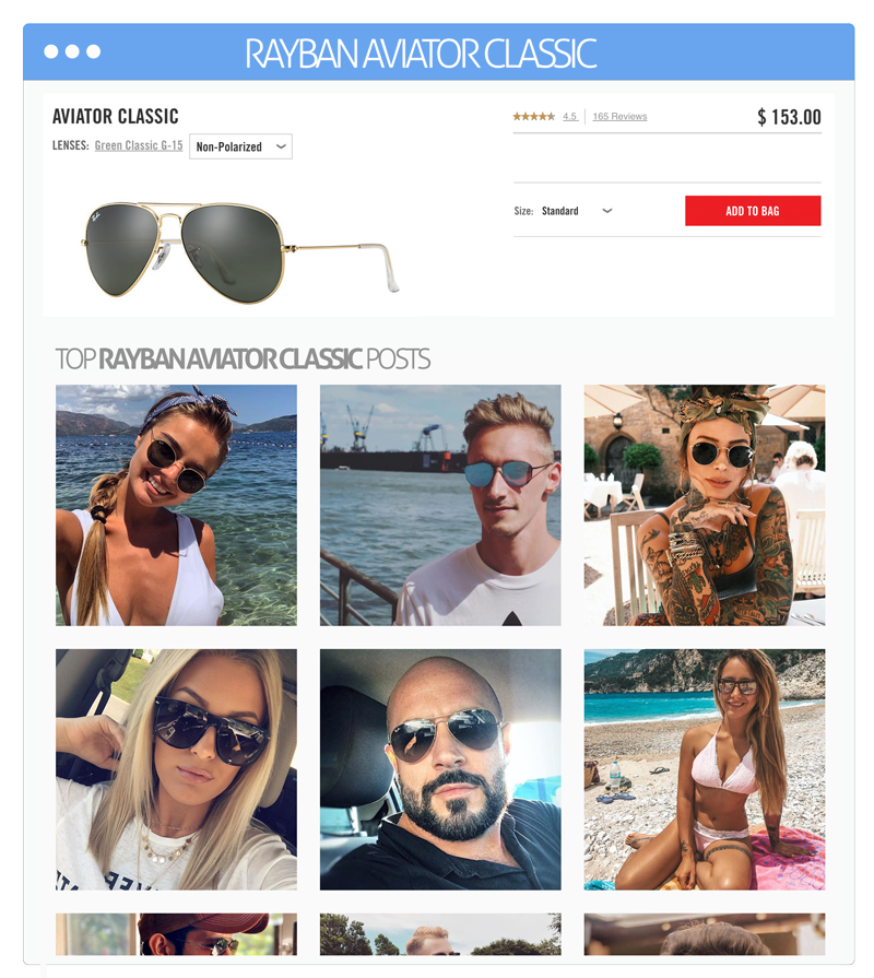 social shopping on ecommerce product pages